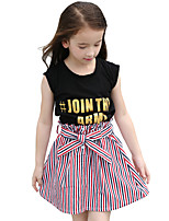 Girls' Stripes Print Sets,Cotton Summer Sleeveless Clothing Set