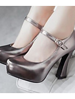 Women's Shoes Nubuck leather PU Spring Comfort Heels With For Casual Gold Silver Dark Grey Red