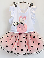 Girl's Fashion And Lovely Fair Maiden Temperament Rabbit Fly Sleeve Vest T-Shirt Dot Gauze Skirt Two-Piece