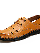 Men's Sandals Light Soles Cowhide Summer Casual Upstream shoes Light Soles Lace-up Flat Heel Brown Yellow Black Flat