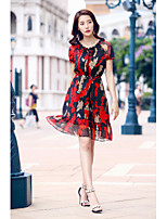 AGD Women's Going out Casual/Daily Simple Cute Loose Chiffon DressFloral V-neck Knee-length Above Knee Short Sleeve Polyester TaffetaSpring