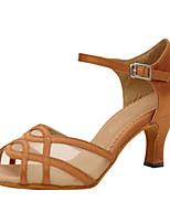 Damen Latin Seide Sandalen Aufführung Überkreuzt Stöckelabsatz Mandelfarben 5 - 6,8 cm 7,5 - 9,5 cm Maßfertigung