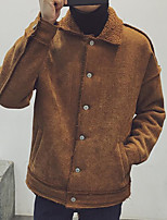 Men's Padded Coat,Simple Casual Solid-Wool Without Filling Material Long Sleeve