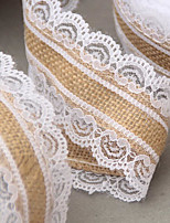 10 M / Roll Natural Jute Burlap Hessian Lace Ribbon Roll White Lace Trim Edge Vintage Wedding Decoration Christmas Party Craft