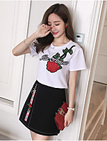 Women's Daily Casual Casual Summer T-shirt Skirt Suits,Floral Color Block Embroidery Round Neck Short Sleeve Micro-elastic