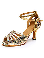 Women's Latin Synthetic Heels Professional Pattern/Print Chunky Heel Gold Sliver 2