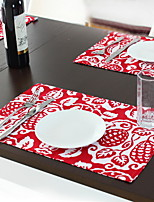 Chinese Style Fashion Red Fruit Cotton And Linen Table Placemat Double-sided 30*45cm
