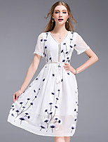DFFD Women's Party Going out Simple Street chic Sheath Swing DressEmbroidered V Neck Knee-length Short Sleeve Polyester Others Summer Mid Rise
