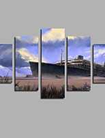 5 Panels Canvas Print Ship stranded Boat On Island Painting On Canvas Sandbeach Wall Art Picture Home Decor Frameless