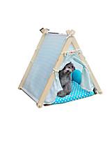 Cat Dog Bed Pet Baskets Polka Dot Keep Warm Adjustable/Retractable Soft Tent Orange Blue