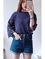 Standard Cardigan Da donna-Altro Casual Tinta unita Rotonda Manica a 3/4 Altro Primavera Medio spessore Media elasticità