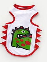 Cat Dog Shirt / T-Shirt Vest Dog Clothes Casual/Daily Animal White Dinosaur