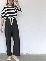 Women's Daily Modern/Comtemporary Summer T-shirt Pant Suits,Print Stripe Round Neck ¾ Sleeve