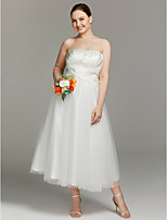 A-line Strapless Tea Length Satin Tulle Wedding Dress with Criss Cross Ruching by LAN TING BRIDE®
