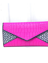 Women Checkbook Wallet PU All Seasons Casual Envelope Snap Navy Blue Fuchsia Black