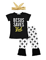 Girls' Print Sets Cotton Summer Fall Short Sleeve Clothing Set Cross Pants Baby Girls Letter T Shirt Cross Pants with Headband