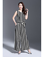1898 Women's Casual/Daily Work Simple Summer T-shirt Pant SuitsStriped Round Neck Sleeveless Inelastic