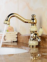 Contemporary Swivel with  Ceramic Valve One Hole for  Ti-PVD , Bathroom Sink Faucet
