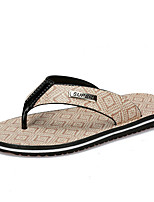 Men's Slippers & Flip-Flops Light Soles PU Spring Summer Casual Flat Heel Beige Yellow Under 1in