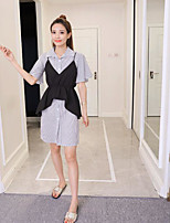 Women's Other Casual Other Casual Summer Shirt Dress Suits,Striped Shirt Collar Short Sleeve