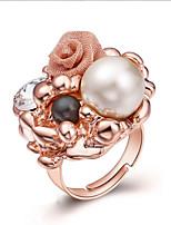 Damen Ring Einzigartiges Design Künstliche Perle Böhmen-Art vergoldet Schmuck Für Party Geburtstag Alltag