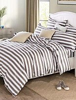 Stripe 4 Piece Cotton Cotton 1pc Duvet Cover 2pcs Shams 1pc Flat Sheet