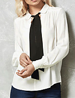 Women's Office/Career Daily Sexy Simple Street chic Plus Size All Match OL Style Bow Spring Summer ShirtColor Block Simple Shirt Collar Long Sleeve