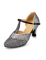 Women's Latin Satin Heels Indoor Rhinestone Chunky Heel Black 2