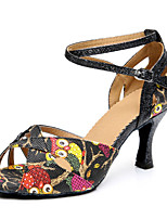 Women's Latin Synthetic Heels Indoor Pattern/Print Chunky Heel Black 2
