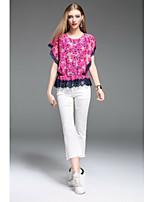 Damen Blumen Boho Lässig/Alltäglich T-shirt,Rundhalsausschnitt Kurzarm Polyester