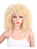 Kinky Curly Synthetic Wigs Natural Blonde Wigs for Black Women Pelucas Medium Length Heat Resistant