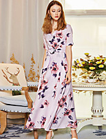 BLUEOXY Women's Party Going out Casual/Daily Loose DressFloral V Neck Maxi Short Sleeve Cotton Polyester Fall Mid Rise Inelastic Medium