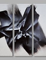 IARTS® Hand Painted Modern Abstract Black Color Drawing Oil Painting On Canvas Set of 3 Stretched Frame Wall Art For Home Decoration Ready To Hang