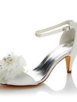 Femme Sandales Escarpin Basique Satin Eté Automne Mariage Habillé Soirée & Evénement Escarpin Basique Fleur Talon Cône Blanc 5 à 7 cm