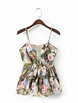 Для женщин На выход На каждый день Лето Рубашка На бретелях,Секси Простое Уличный стиль Цветочный принт С принтом Без рукавов,Шёлк Хлопок,