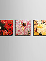 E-HOME Stretched Canvas Art Flowers And Women Decoration Painting One Pcs