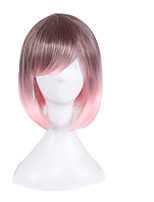 Blonde Europe and America Anime Fake  Brown Pink Gradient Bobo Wig Short Hair 10inch