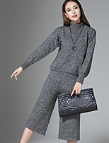 Women's Casual/Daily Simple Fall T-shirt Pant Suits,Solid Turtleneck Long Sleeve
