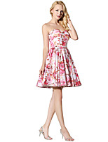 Princess Sweetheart Short / Mini Satin Chiffon Prom Dress