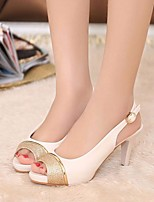 Women's Heels Comfort Summer PU Casual Black Beige 1in-1 3/4in