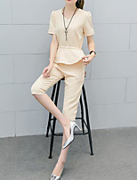 Women's Daily Casual Casual Summer T-shirt Pant Suits,Solid Round Neck 1/2 Length Sleeve Micro-elastic