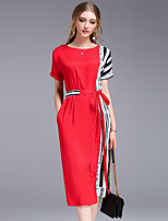 DFFD Women's Going out Casual/Daily Work Simple Street chic Loose Sheath DressStriped Round Neck Knee-length Short Sleeve Others SummerMid