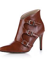 Femme Chaussures à Talons Botillons Polyuréthane Printemps Automne Mariage Habillé Soirée & Evénement Botillons BoucleNoir Marron