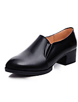 Women's Heels Formal Shoes Spring Fall Real Leather Office & Career Chunky Heel Black 1in-1 3/4in