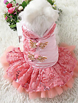 Dog Dress Tuxedo Dog Clothes Casual/Daily New Year's Embroidered Purple Red Blue Blushing Pink