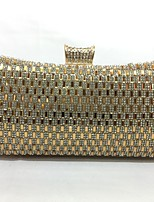 Women Evening Bag Metal All Seasons Event/Party Hobo Push Lock Silver Gold