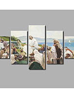 Fashion New Home For Livingroom Missionary Jesus Figure Wall Decoration Painting on Canvas Printed Poster 5panels Unframed