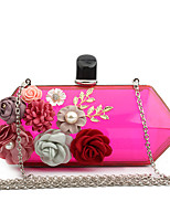 L.WEST Woman Fashion Luxury High-grade Flowers And Transparent Acrylic Evening Bag