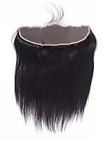 12-20 бразильских виргинских волос натуральный черный 13x4 кружевное лобовое закрытие с затушенными узлами прямое кружево переднее