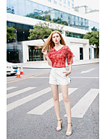 Women's Going out Casual/Daily Sexy Simple Cute Spring Summer Blouse,Floral V Neck Half Sleeves Polyester Medium